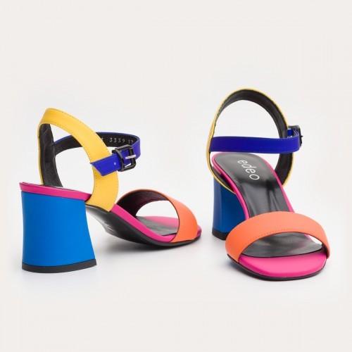 Kolorowe sandały na klocku