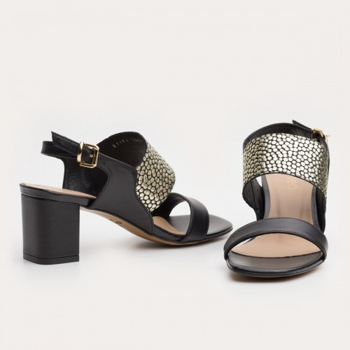 Czarno złote sandały na obcasie