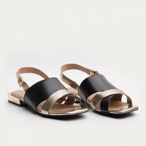 Czarno - złoty sandał ze sprzączką