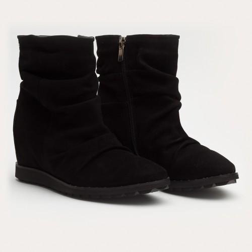 Czarne botki z ukrytą koturną
