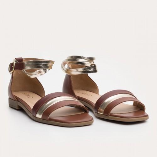 Brązowo złote sandały z paskami