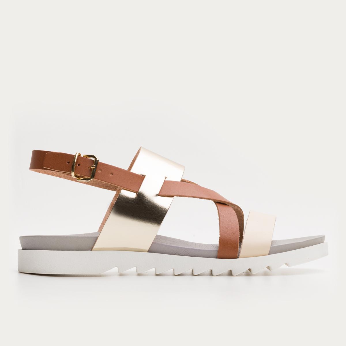 Rudo złote sandały na białym spodzie