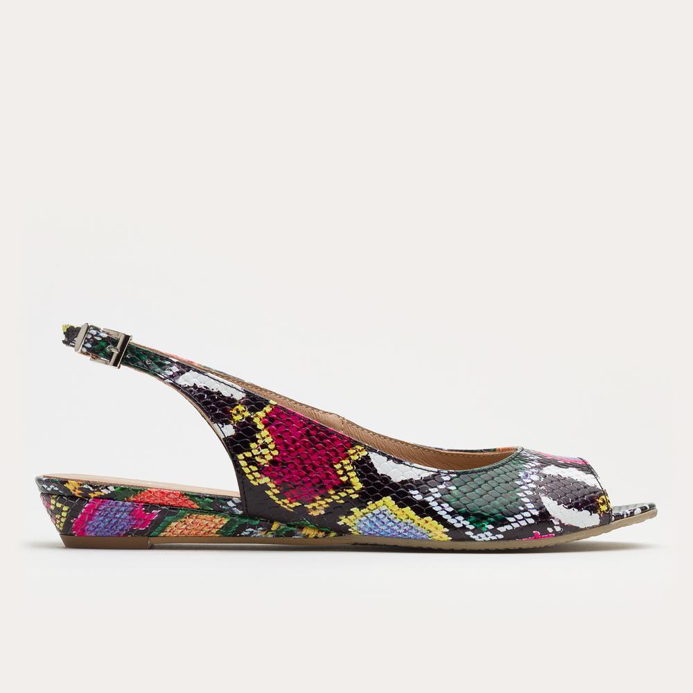 Multi-kolorowe sandały na klinie