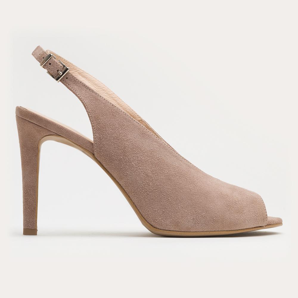 Beżowy zamszowy sandał na szpilce