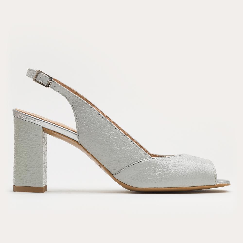 Popielate sandały bez pięty