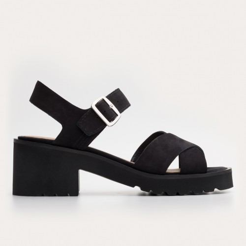 Czarne nubukowe sandały