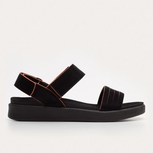 Czarno-pomarańczowe sandały