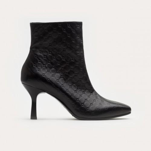 Czarne pikowane botki na szpilce
