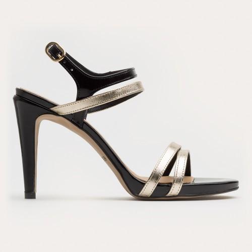 Czarno złoty sandał na szpilce