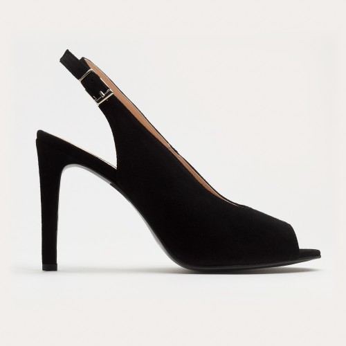 Czarny zamszowy sandał na szpilce