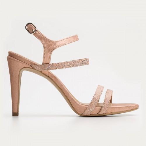 Łososiowe sandały na szpilce