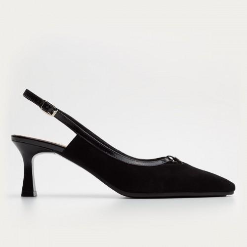 Czarny zamszowy sandał bez pięty