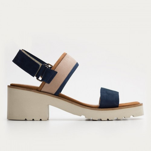 Granatowo beżowe sandały na rzepy