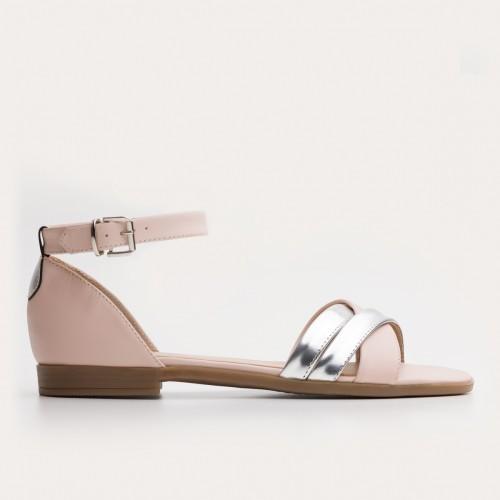 Beżowo srebrne sandały z paskiem