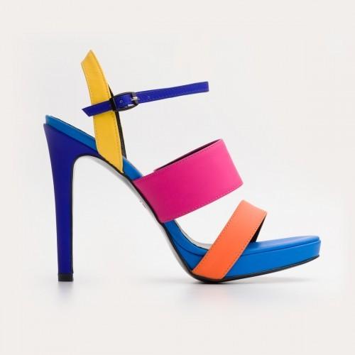 Kolorowe sandały na wysokiej szpilce