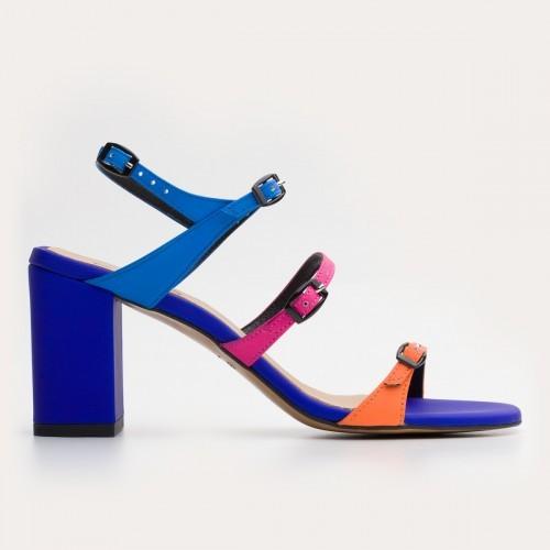 Kolorowe sandały na obcasie